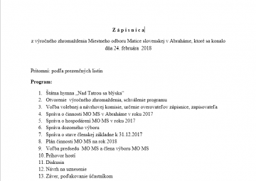 Zápisnica z výročného zhromaždenia Miestneho odboru Matice slovenskej v Abraháme, ktoré sa konalo dňa 24. februára  2018