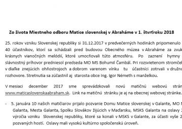 Zo života Miestneho odboru Matice slovenskej v Abraháme v 1. štvrťroku 2018